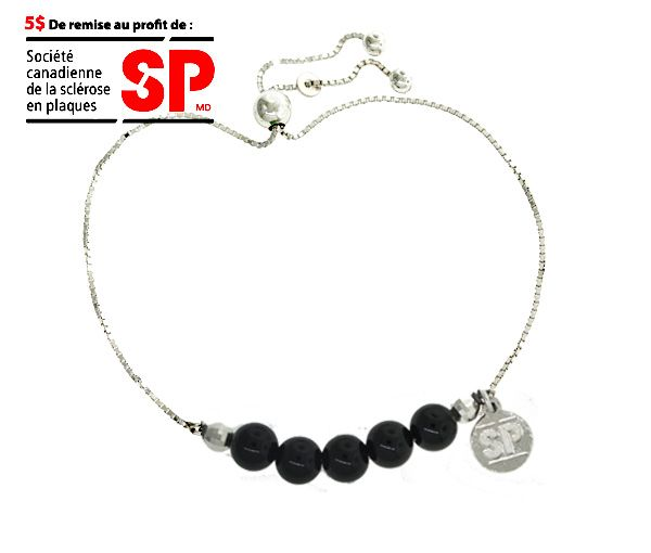 Bracelet fondation sp en argent avec perles d'onyx