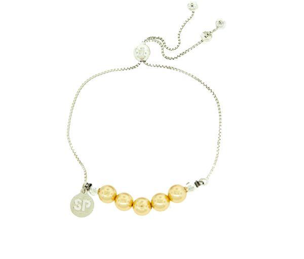 Bracelet fondation sp en argent avec perles synthétiques jaunes