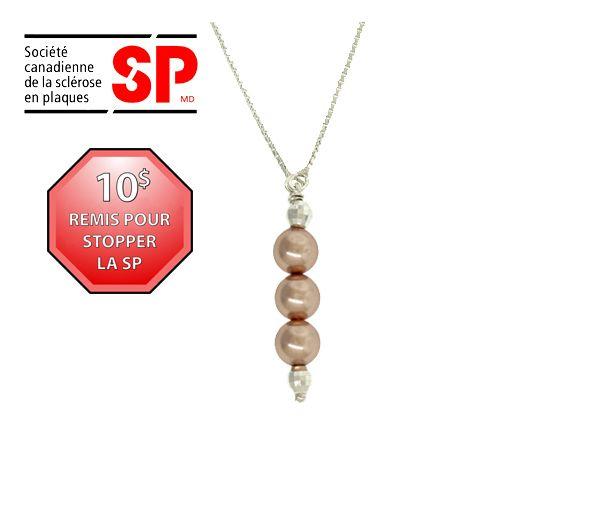 Collier argent perle rose cuivrée