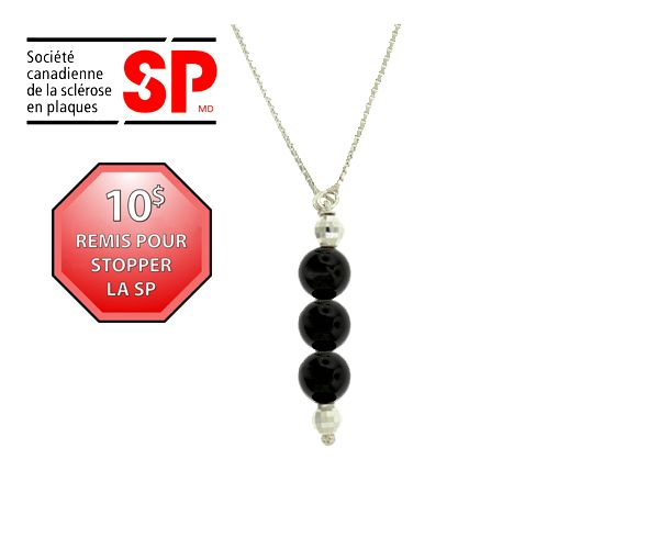 Collier argent perle onyx