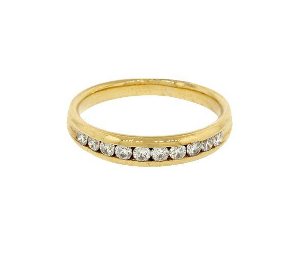 Joli jonc semi-éternité pour dame en or 18k serti de diamants