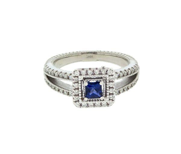 Magnifique bague pour dame en or 14k blanc sertie d'un saphir bleu et de diamants