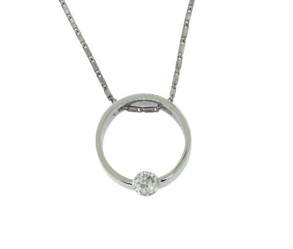 Superbe pendentif exclusif pour dame en or 14k blanc serti d'un diamant
