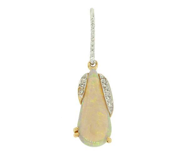 Superbe pendentif pour dame en or 14-18k 2 tons serti d'une opale et de diamants