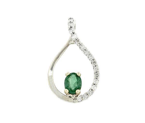 élégant pendentif pour dame en or 14-18k 2 tons serti d'une émeraude et de diamants