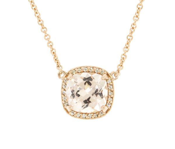 Pendentif à croquer pour dame en or 14k rose serti d'une morganite et de diamants