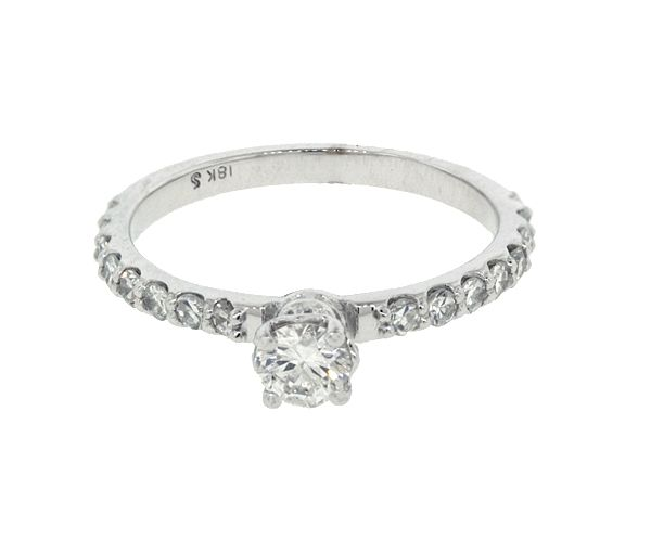 Bague dame en or 18k blanc sertie de 21 diamants