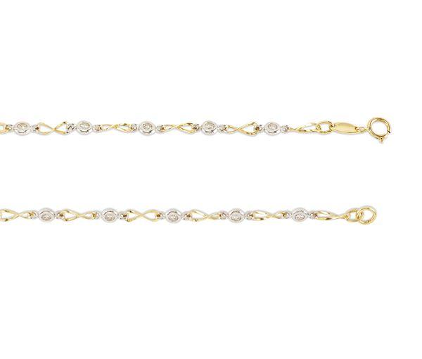 Bracelet 10k 2t infini cz 3.5mm 7''