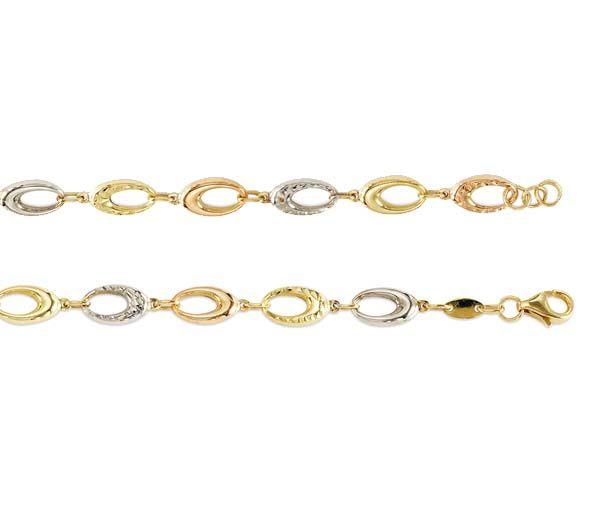 Bracelet 10k 3t taille diamant 4.8mm 7.5