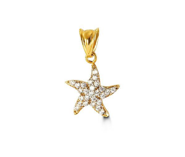 Délicat pendentif étoile de mer pour dame en or 10k serti de cubiques zirconias