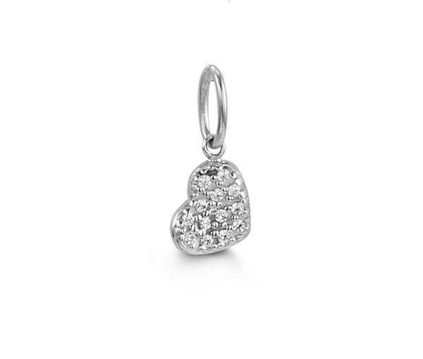 Pendentif délicat coeur pour dame en or 10k blanc serti d'un pavé de cubiques zirconias