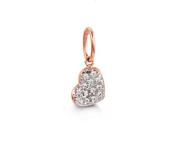 Délicat pendentif coeur pour dame en or 10k rose serti d'un pavé de cubiques zirconias