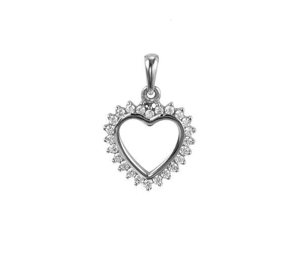 Pendentif superbe coeur ajouré pour dame en or 10k blanc serti de cubiques zirconias