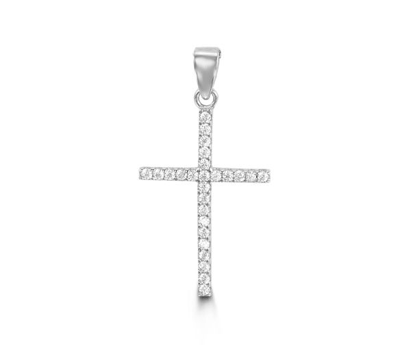 Pendentif jolie croix pour dame en or 10k blanc serti de cubiques zirconias