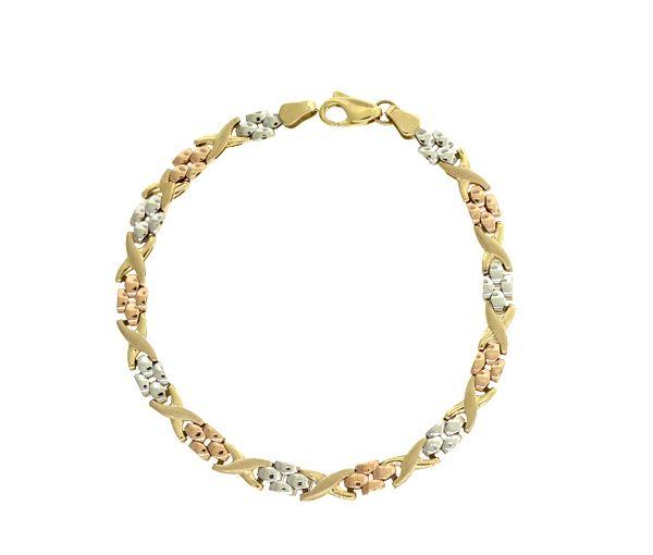 Bracelet 10k 3t déco 7.5''