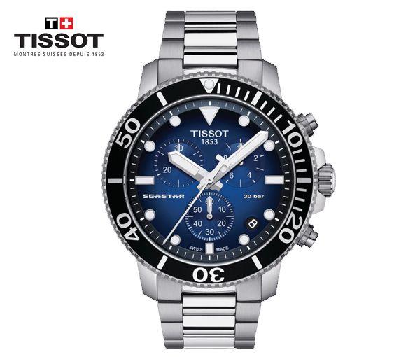 Jolie montre tissot seastar 1000 chronograph pour homme en acier